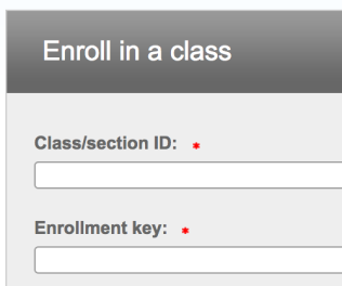 Enrolling in a class from inside your account